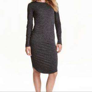 H&M Women's Midi length long sleeved crewneck marked grey jersey dress size S